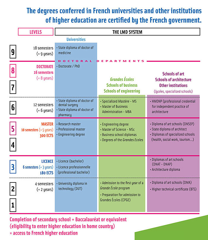 Diagram of the french higher education system